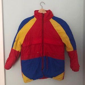 Vintage Colourblock Puffer Jacket